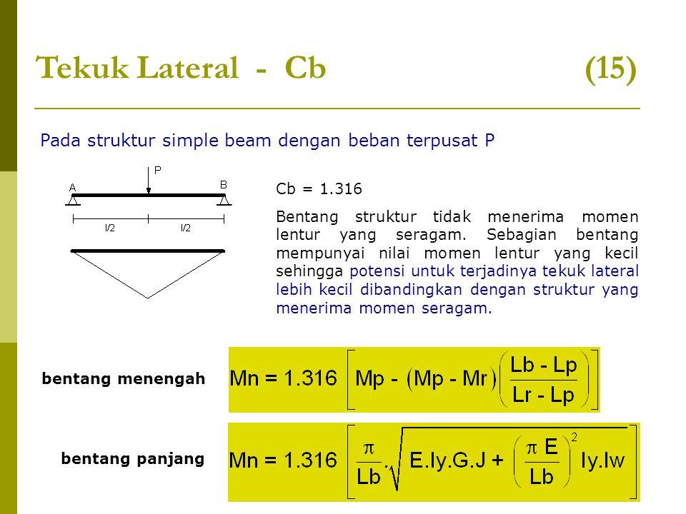 Tekuk Lateral - Cb (15) Pada struktur simple beam dengan beban terpusat P.