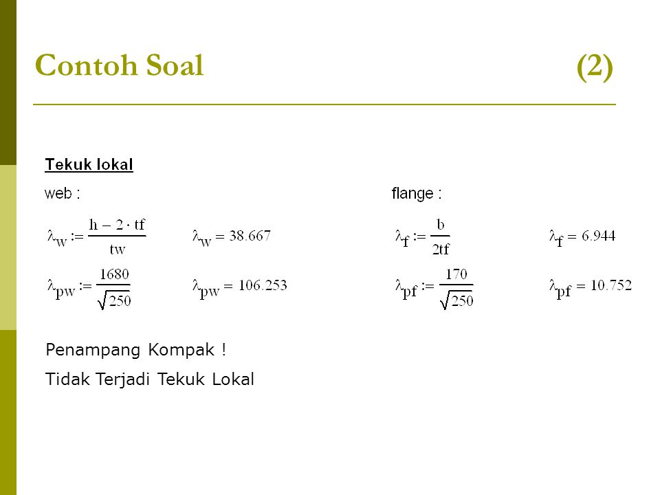 Contoh Soal (2) Penampang Kompak .