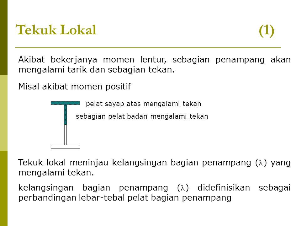 Tekuk Lokal (1) Akibat bekerjanya momen lentur, sebagian penampang akan mengalami tarik dan sebagian tekan.