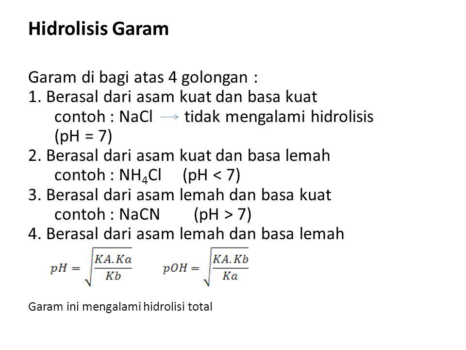 Hidrolisis Garam Garam di bagi atas 4 golongan :