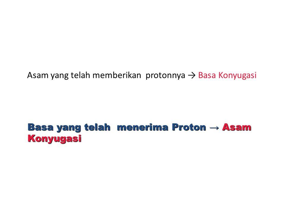Asam yang telah memberikan protonnya → Basa Konyugasi