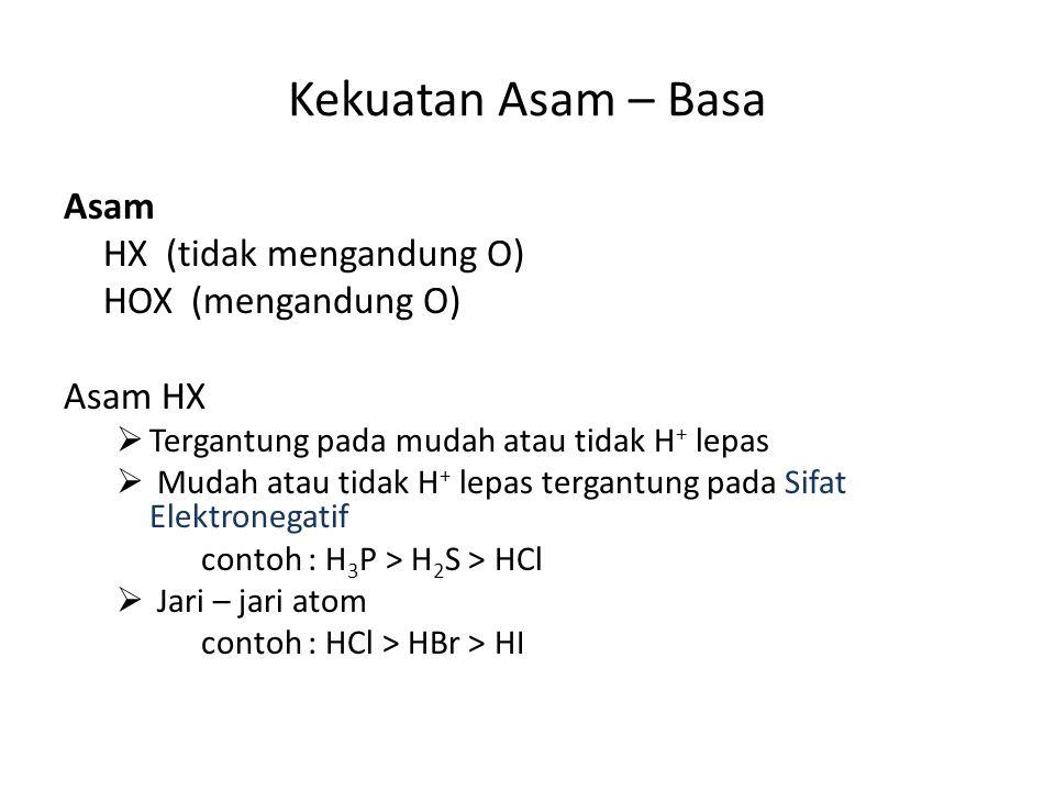 Kekuatan Asam – Basa Asam HX (tidak mengandung O) HOX (mengandung O)