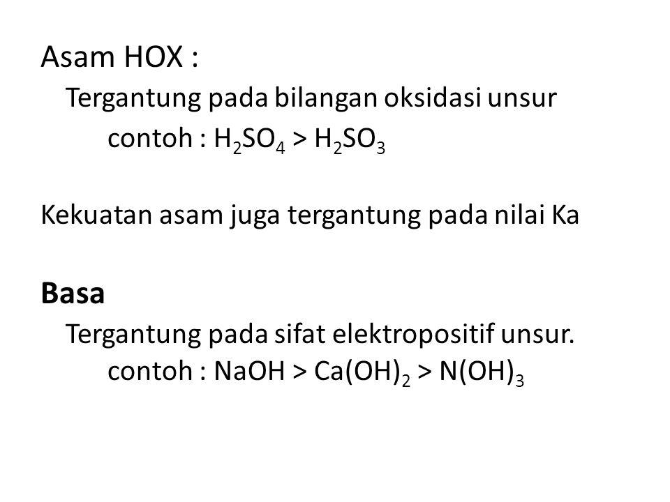 Tergantung pada bilangan oksidasi unsur