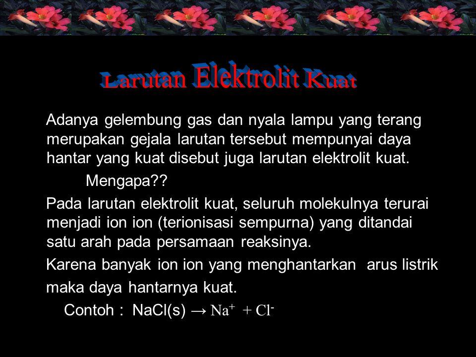 Senyawa yang termasuk elektrolit kuat: asam kuat, basa kuat dan garam yang mudah larut dalam air