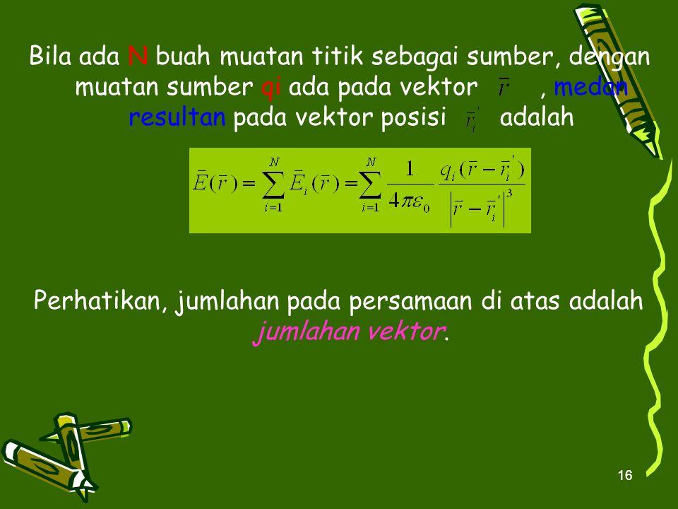 Perhatikan, jumlahan pada persamaan di atas adalah jumlahan vektor.