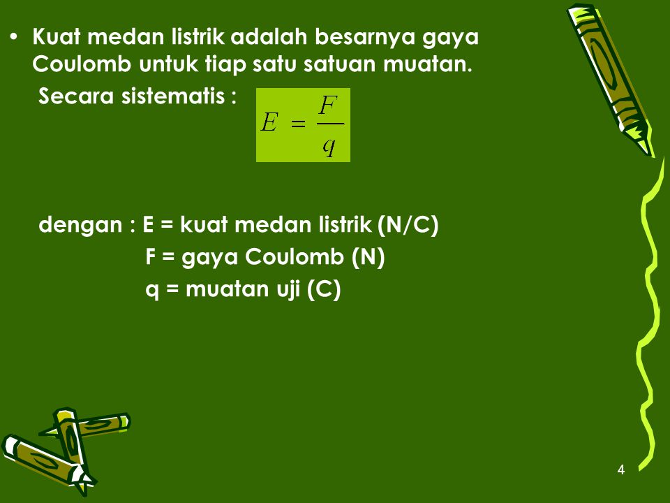Kuat medan listrik adalah besarnya gaya Coulomb untuk tiap satu satuan muatan.