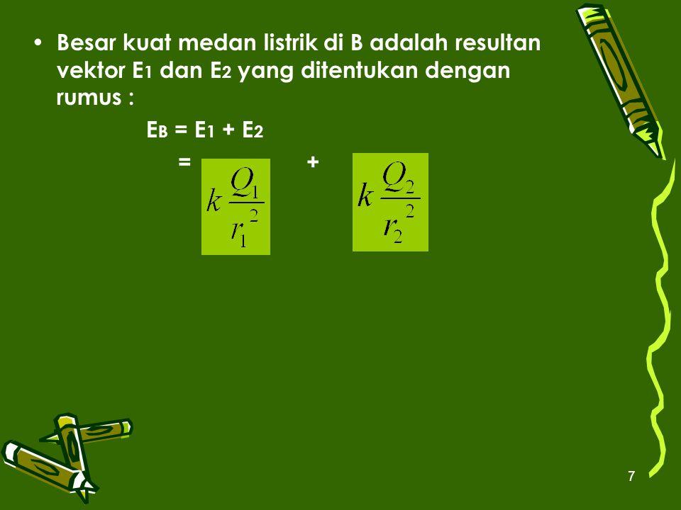 Besar kuat medan listrik di B adalah resultan vektor E1 dan E2 yang ditentukan dengan rumus :