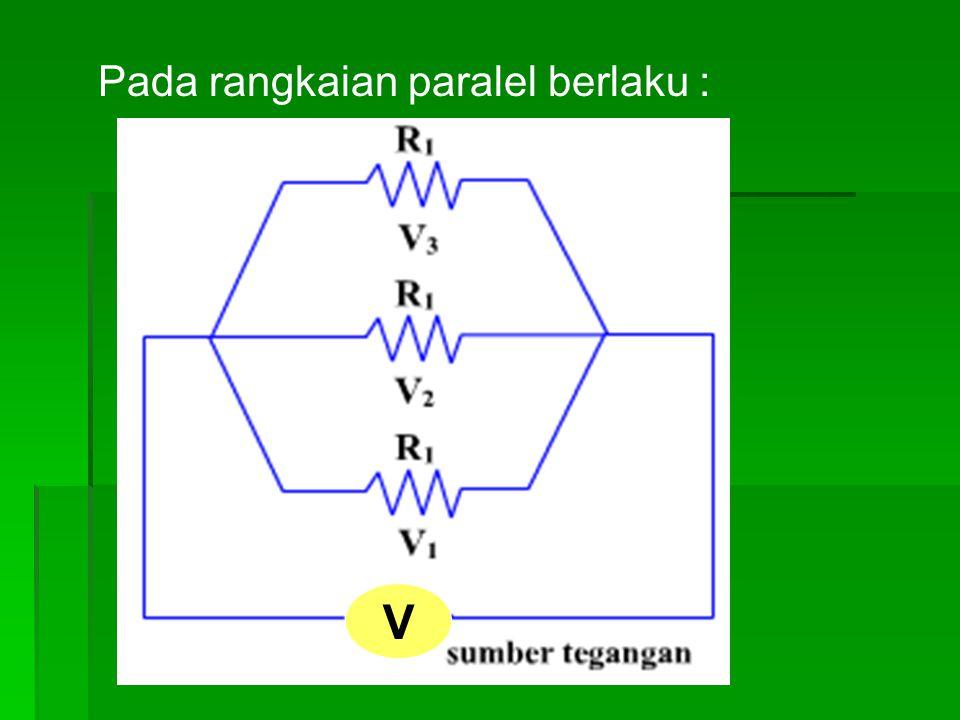 Pada rangkaian paralel berlaku :