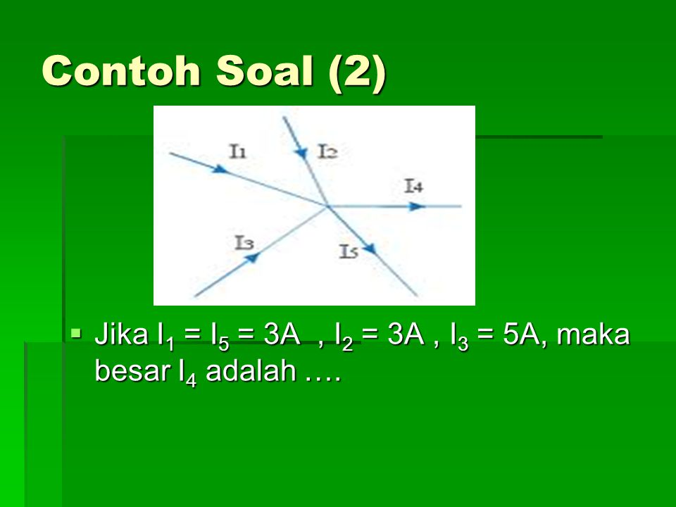 Contoh Soal (2) Jika I1 = I5 = 3A , I2 = 3A , I3 = 5A, maka besar I4 adalah ….