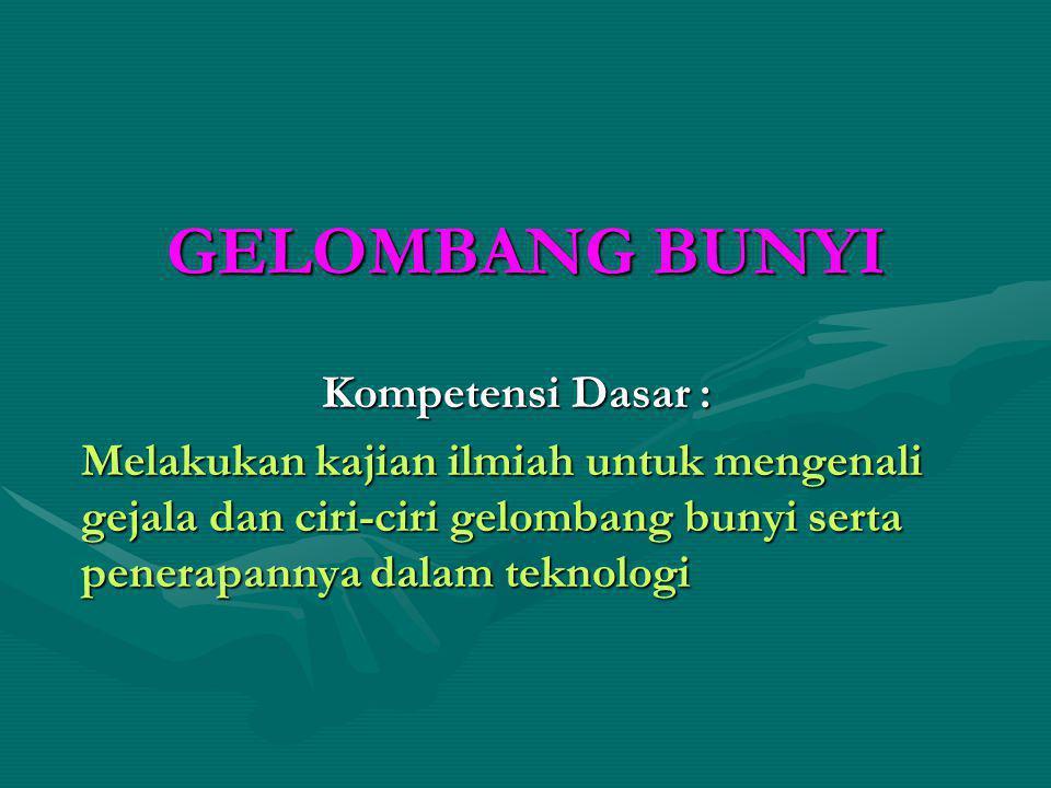 GELOMBANG BUNYI Kompetensi Dasar :