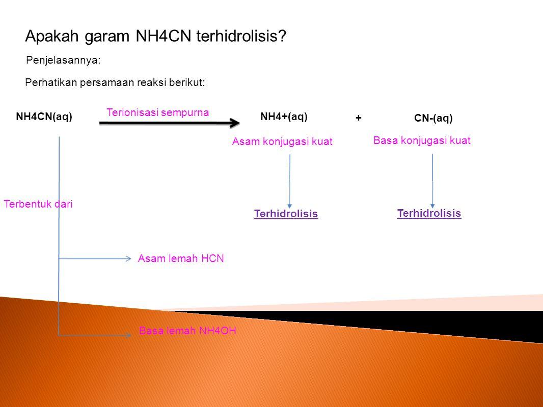 Apakah garam NH4CN terhidrolisis