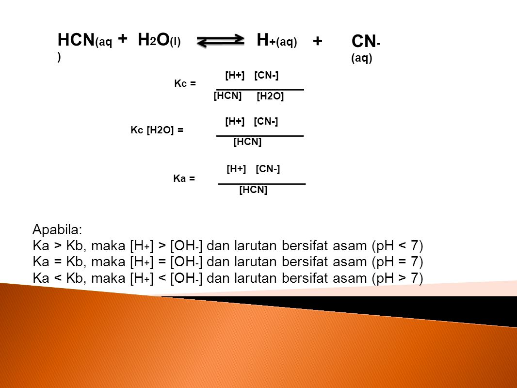 HCN(aq) + H2O(l) H+(aq) + CN-(aq) Apabila: