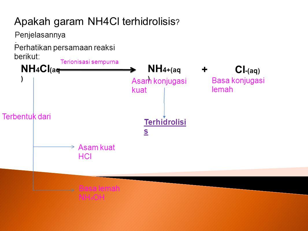 Apakah garam NH4Cl terhidrolisis