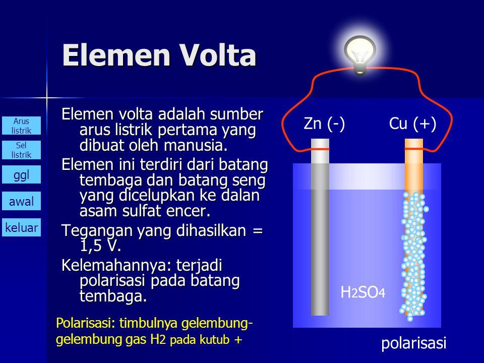 Elemen Volta Elemen volta adalah sumber arus listrik pertama yang dibuat oleh manusia.