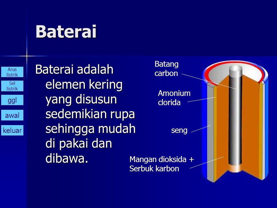 Baterai Batang. carbon. Baterai adalah elemen kering yang disusun sedemikian rupa sehingga mudah di pakai dan dibawa.