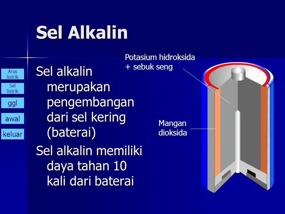 Sel Alkalin Potasium hidroksida. + sebuk seng. Sel alkalin merupakan pengembangan dari sel kering (baterai)