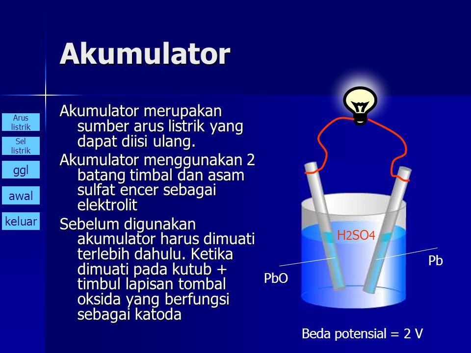 Akumulator Akumulator merupakan sumber arus listrik yang dapat diisi ulang.