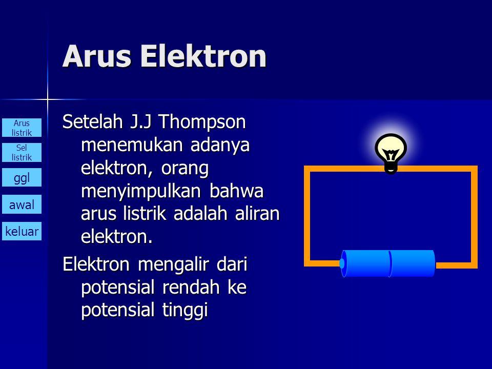 Arus Elektron Setelah J.J Thompson menemukan adanya elektron, orang menyimpulkan bahwa arus listrik adalah aliran elektron.