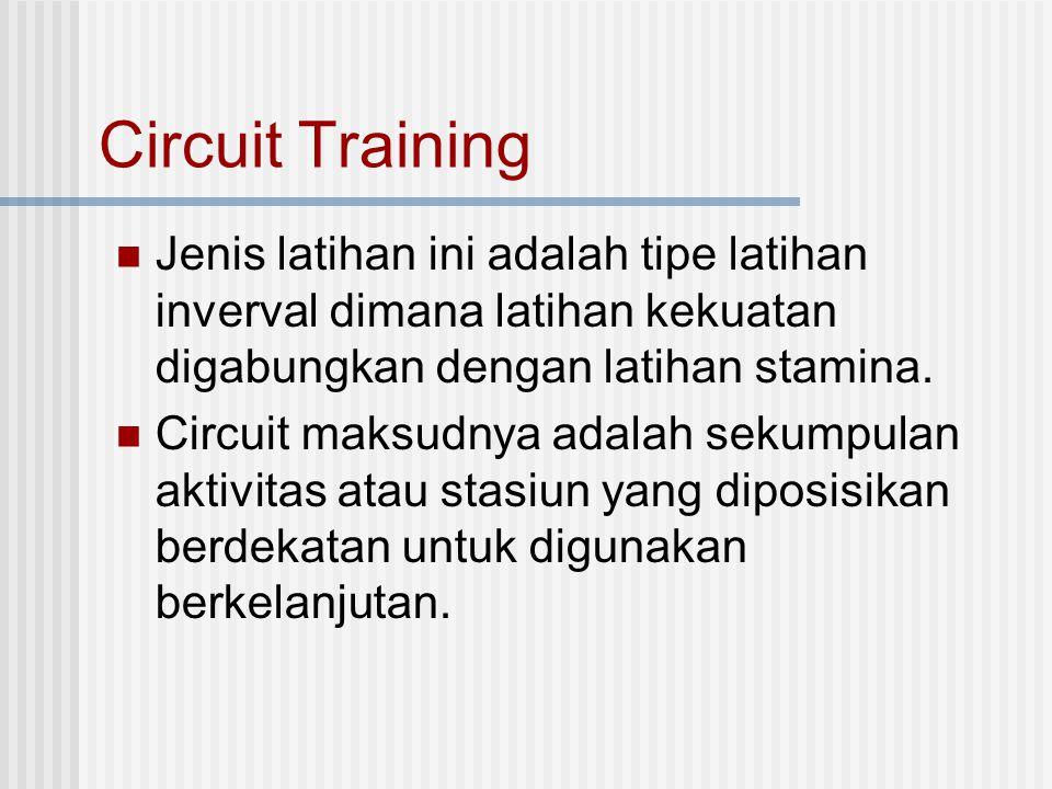 Circuit Training Jenis latihan ini adalah tipe latihan inverval dimana latihan kekuatan digabungkan dengan latihan stamina.