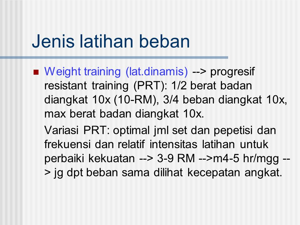 Jenis latihan beban