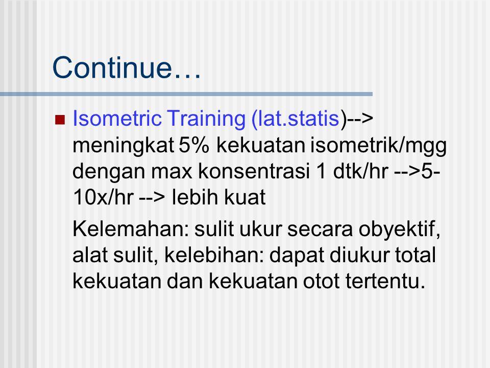 Continue… Isometric Training (lat.statis)--> meningkat 5% kekuatan isometrik/mgg dengan max konsentrasi 1 dtk/hr -->5-10x/hr --> lebih kuat.