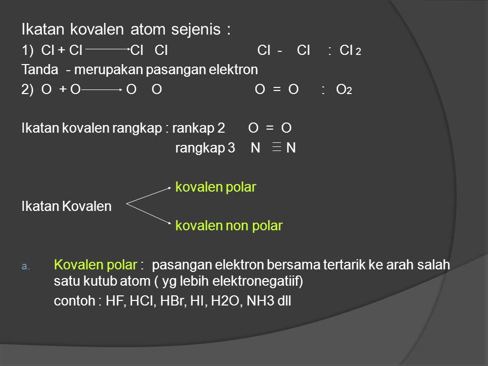 Ikatan kovalen atom sejenis :