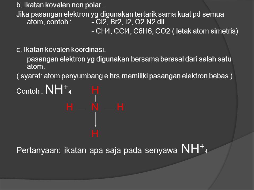H N H H Pertanyaan: ikatan apa saja pada senyawa NH+4