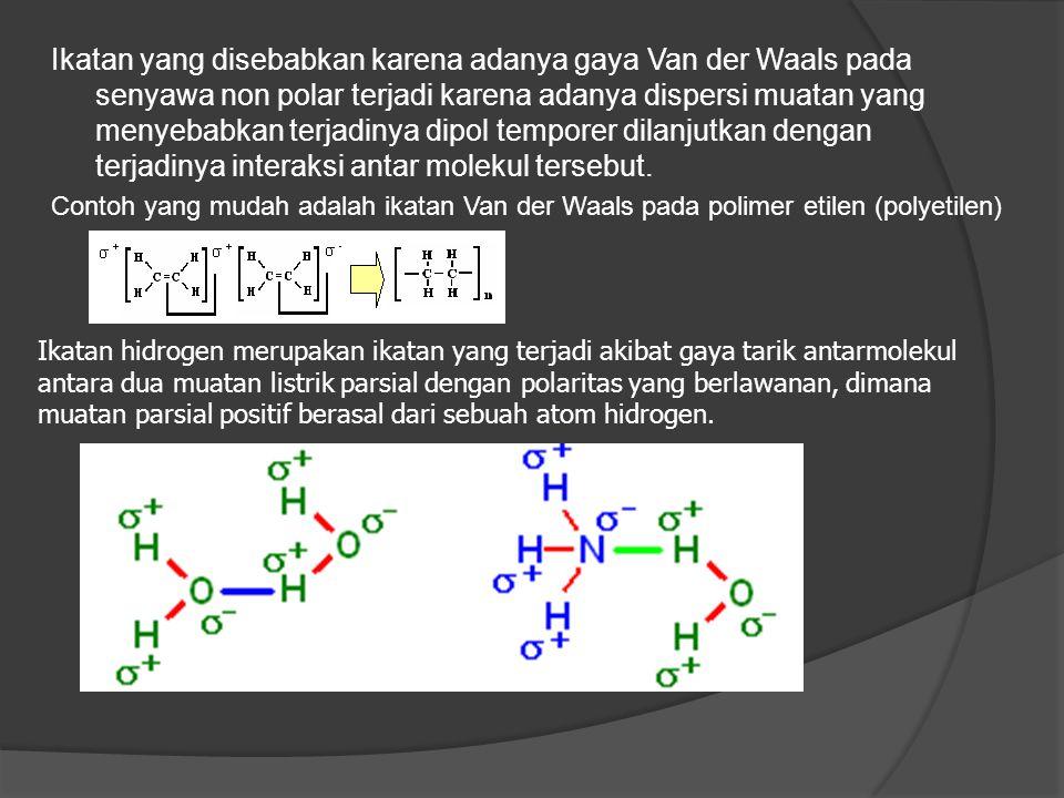 Ikatan yang disebabkan karena adanya gaya Van der Waals pada senyawa non polar terjadi karena adanya dispersi muatan yang menyebabkan terjadinya dipol temporer dilanjutkan dengan terjadinya interaksi antar molekul tersebut.