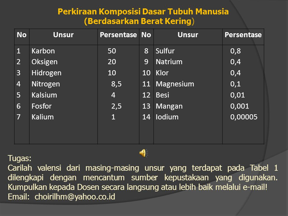 Perkiraan Komposisi Dasar Tubuh Manusia (Berdasarkan Berat Kering)