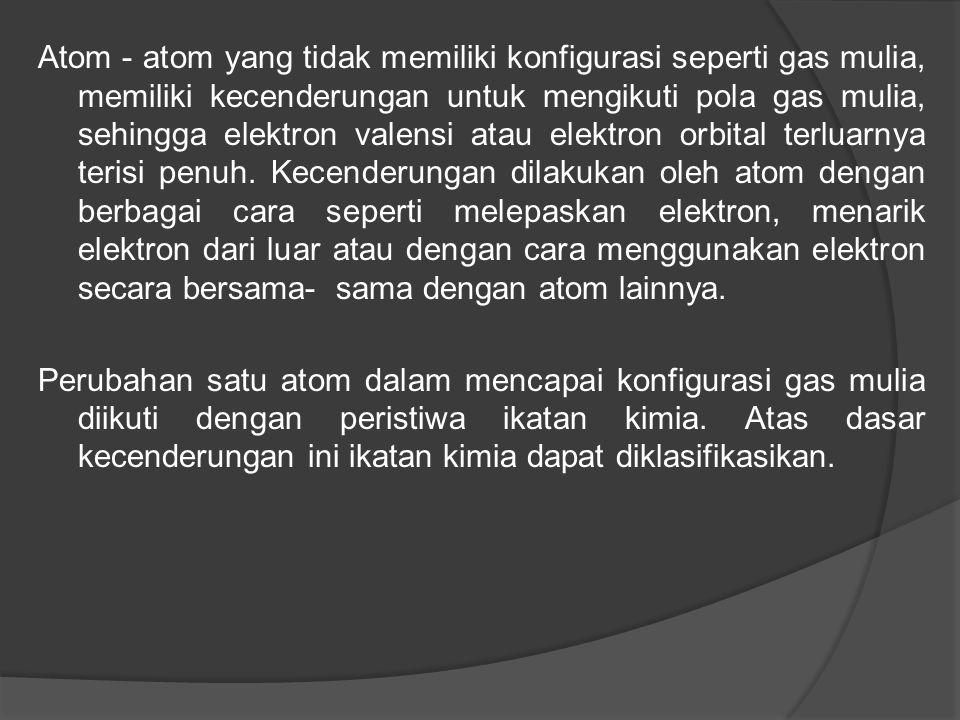 Atom - atom yang tidak memiliki konfigurasi seperti gas mulia, memiliki kecenderungan untuk mengikuti pola gas mulia, sehingga elektron valensi atau elektron orbital terluarnya terisi penuh. Kecenderungan dilakukan oleh atom dengan berbagai cara seperti melepaskan elektron, menarik elektron dari luar atau dengan cara menggunakan elektron secara bersama- sama dengan atom lainnya.