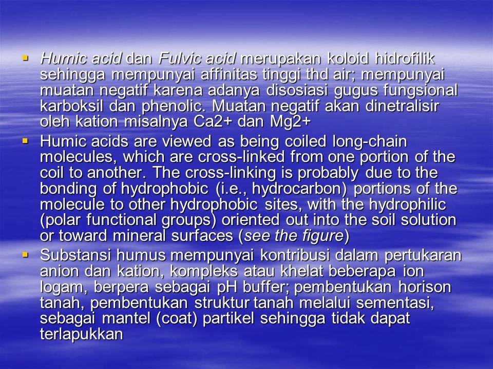 Humic acid dan Fulvic acid merupakan koloid hidrofilik sehingga mempunyai affinitas tinggi thd air; mempunyai muatan negatif karena adanya disosiasi gugus fungsional karboksil dan phenolic. Muatan negatif akan dinetralisir oleh kation misalnya Ca2+ dan Mg2+