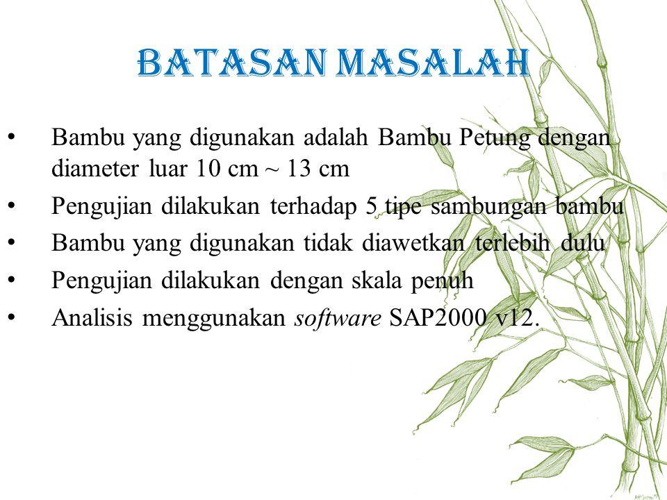 Batasan Masalah Bambu yang digunakan adalah Bambu Petung dengan diameter luar 10 cm ~ 13 cm. Pengujian dilakukan terhadap 5 tipe sambungan bambu.