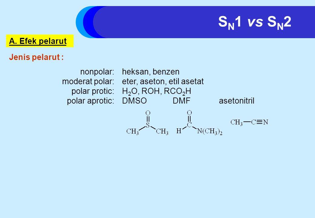 SN1 vs SN2 A. Efek pelarut Jenis pelarut : nonpolar: heksan, benzen