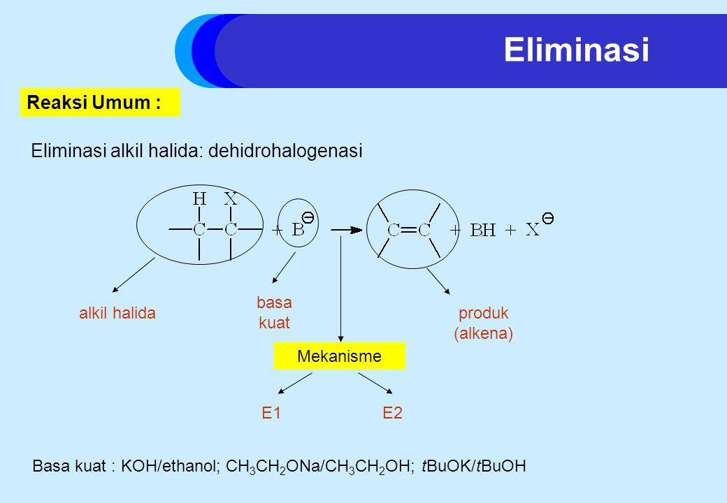 Eliminasi Reaksi Umum : Eliminasi alkil halida: dehidrohalogenasi
