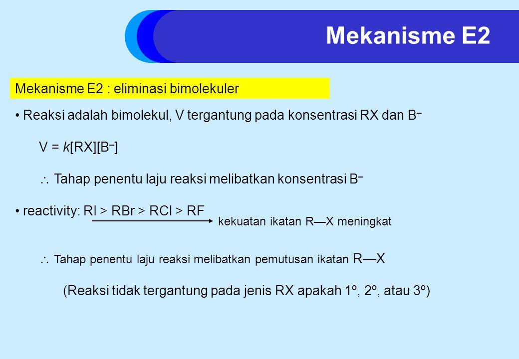 Mekanisme E2 Mekanisme E2 : eliminasi bimolekuler