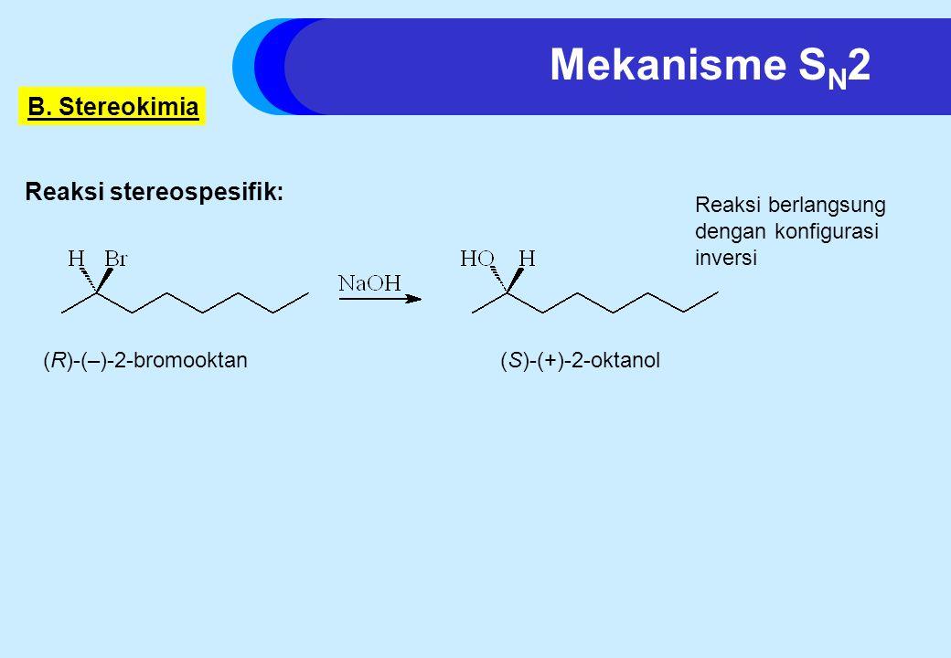 Mekanisme SN2 B. Stereokimia Reaksi stereospesifik: