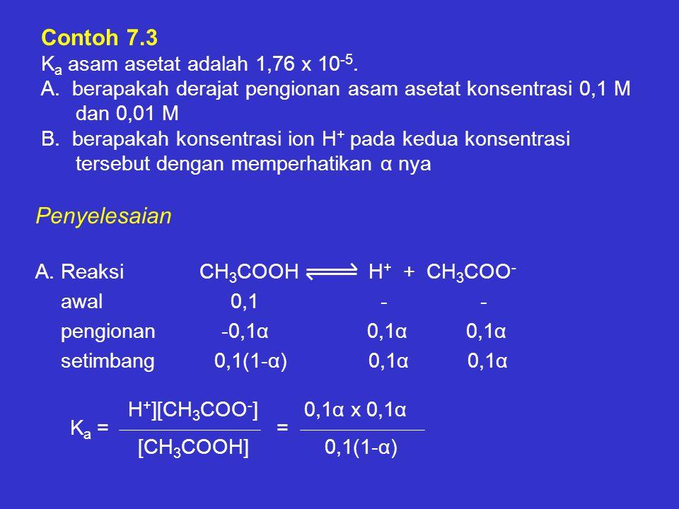 Contoh 7. 3 Ka asam asetat adalah 1,76 x 10-5. A
