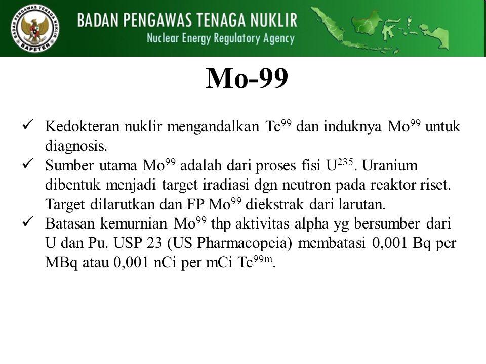 Mo-99 Kedokteran nuklir mengandalkan Tc99 dan induknya Mo99 untuk diagnosis.