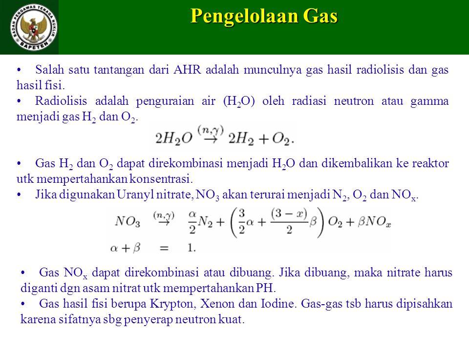Pengelolaan Gas Salah satu tantangan dari AHR adalah munculnya gas hasil radiolisis dan gas hasil fisi.