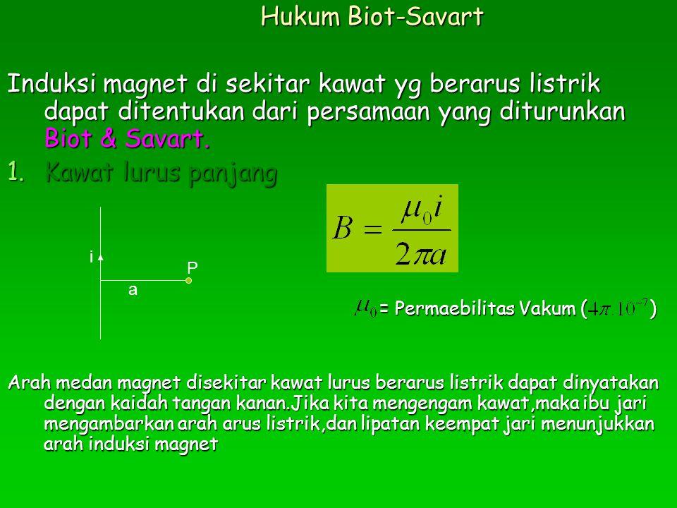 Hukum Biot-Savart Induksi magnet di sekitar kawat yg berarus listrik dapat ditentukan dari persamaan yang diturunkan Biot & Savart.