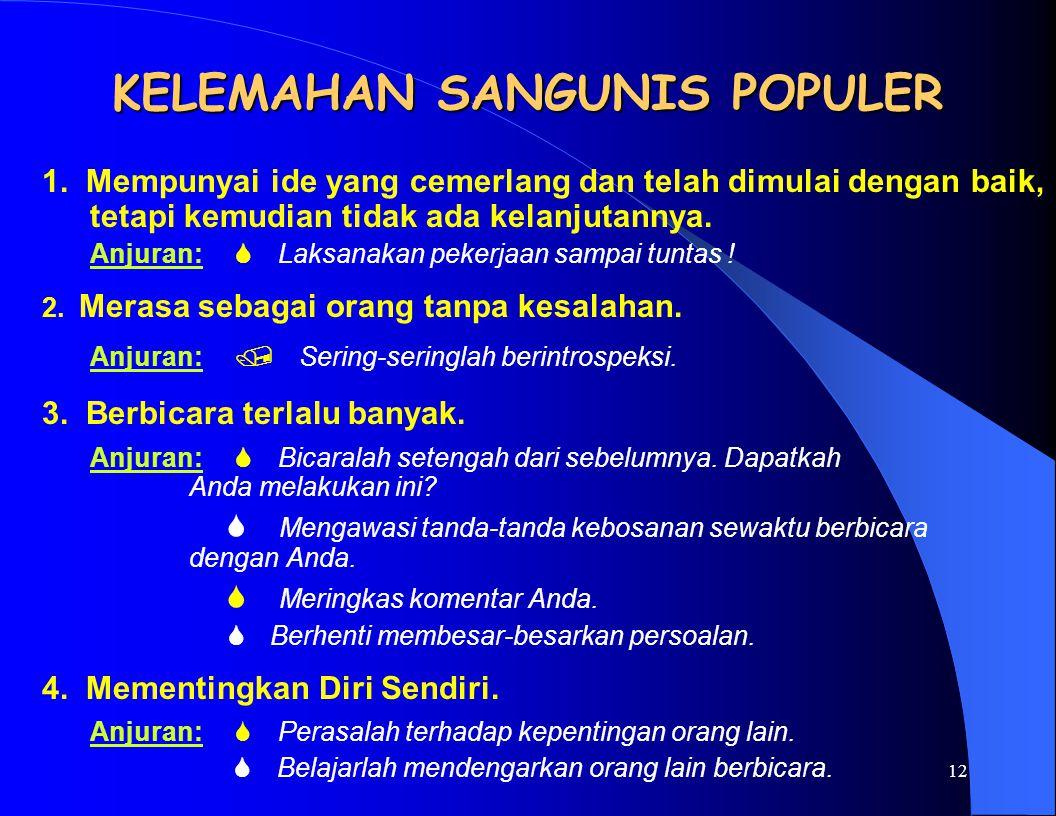KELEMAHAN SANGUNIS POPULER