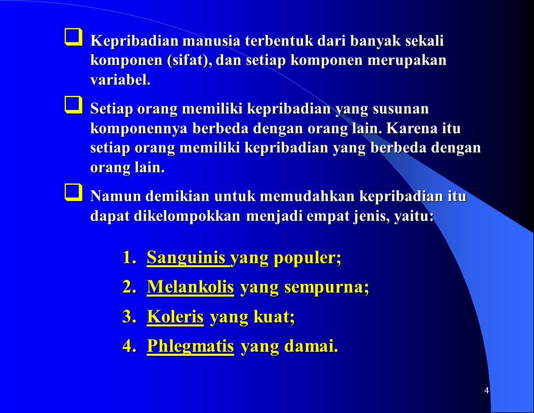 Sanguinis yang populer; Melankolis yang sempurna; Koleris yang kuat;