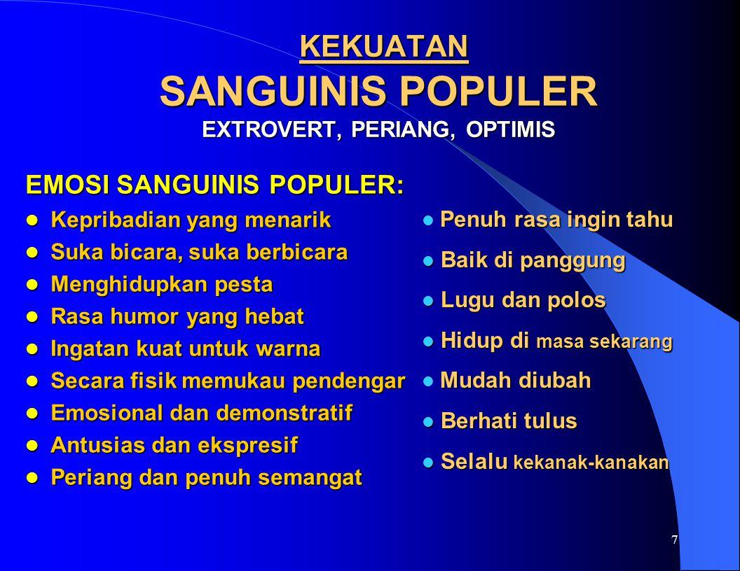 KEKUATAN SANGUINIS POPULER EXTROVERT, PERIANG, OPTIMIS