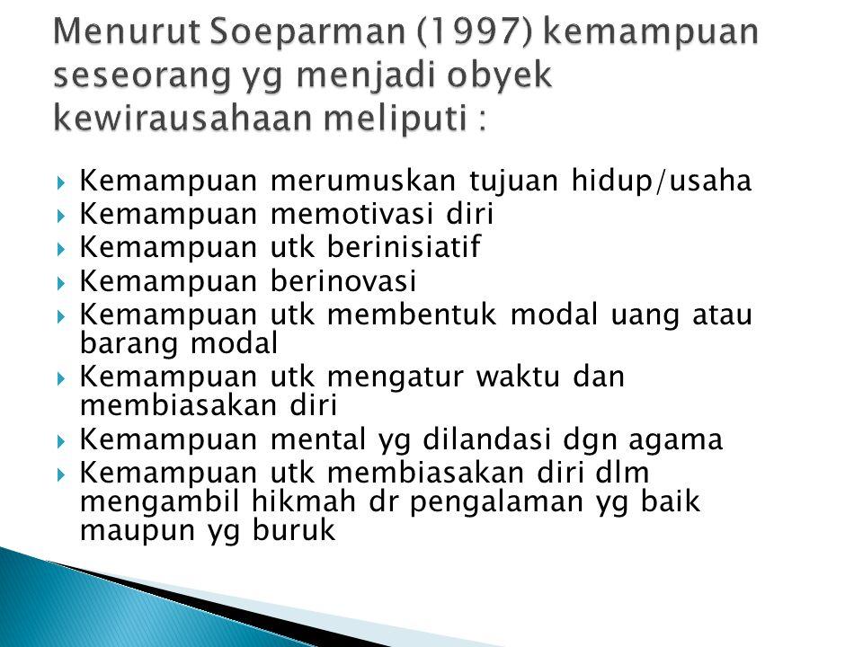 Menurut Soeparman (1997) kemampuan seseorang yg menjadi obyek kewirausahaan meliputi :