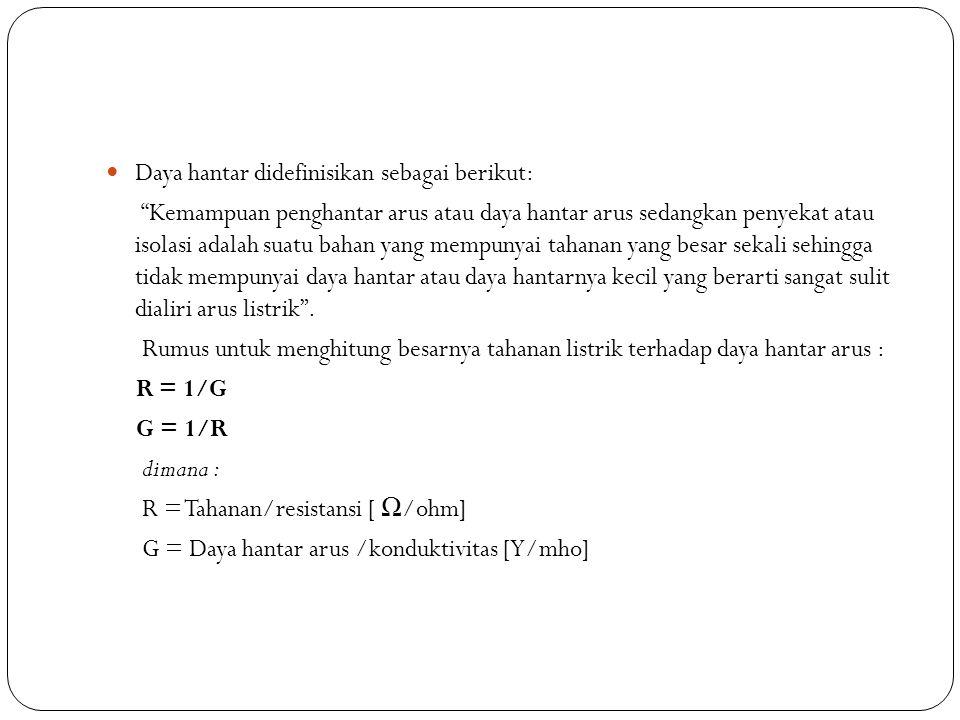 Daya hantar didefinisikan sebagai berikut: