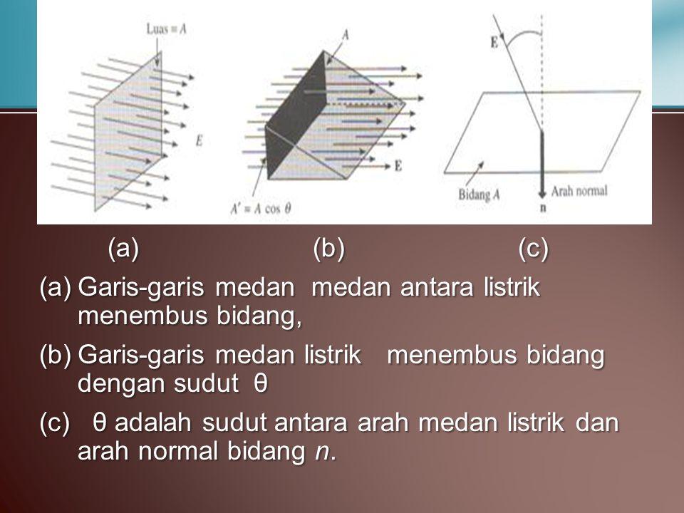 (a) (b) (c) Garis-garis medan medan antara listrik menembus bidang, Garis-garis medan listrik menembus bidang dengan sudut θ.