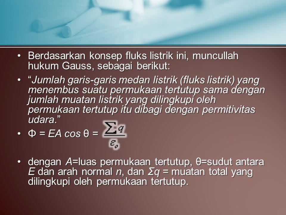 Berdasarkan konsep fluks listrik ini, muncullah hukum Gauss, sebagai berikut:
