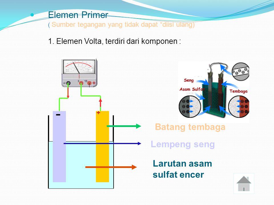 - Elemen Primer Batang tembaga Lempeng seng Larutan asam sulfat encer