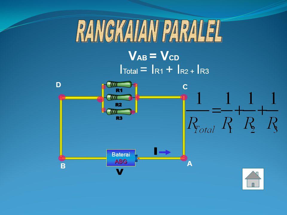 RANGKAIAN PARALEL R1 R2 R3 I V VAB = VCD ITotal = IR1 + IR2 + IR3 D C