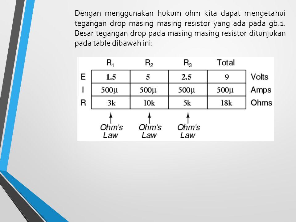 Dengan menggunakan hukum ohm kita dapat mengetahui